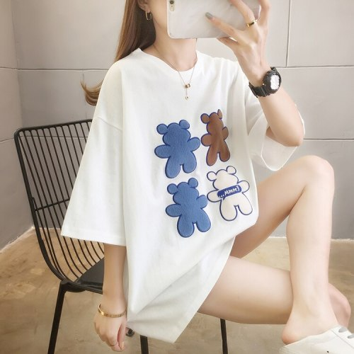 Summer Letters Printed Women's T-shirt The New Comfortable Loose Fashion Casual Short Sleeve Round Neck Top Cotton