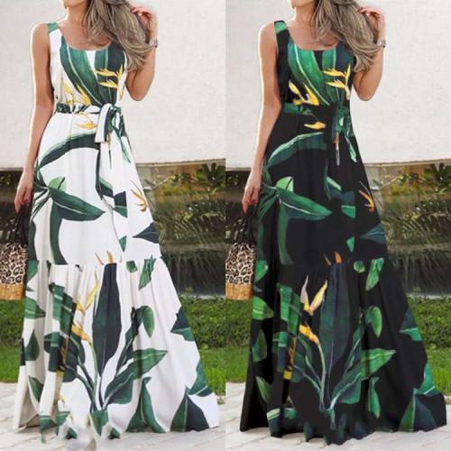 New Bohemia Sleeve Printed Colour Belts Maxi Dresses