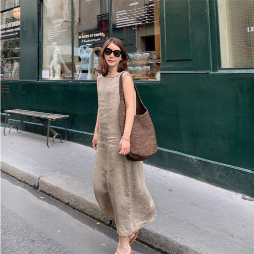Casual V Neck Pure Colour Linen Cotton Sleeveless Jumpsuits