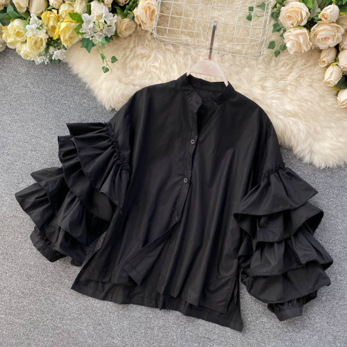 Fashion Women Ruffles Blouse Long Sleeve Single Breasted Chic Shirt Office Lady Spring 2021 New Girls Blusas Loose