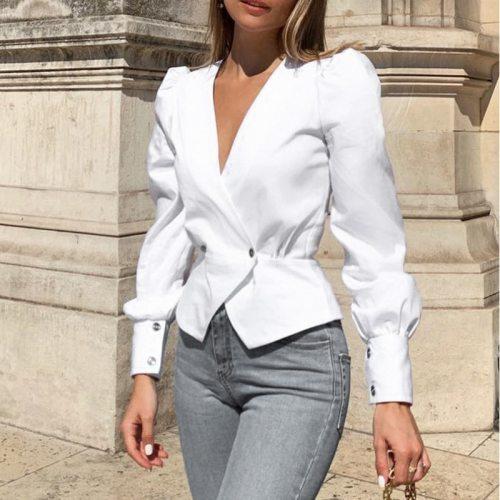Elegant Solid Women Blouse Shirts Vintage Retro Peplum White V Neck Female Blouses Puff Casual Blusa Mujer