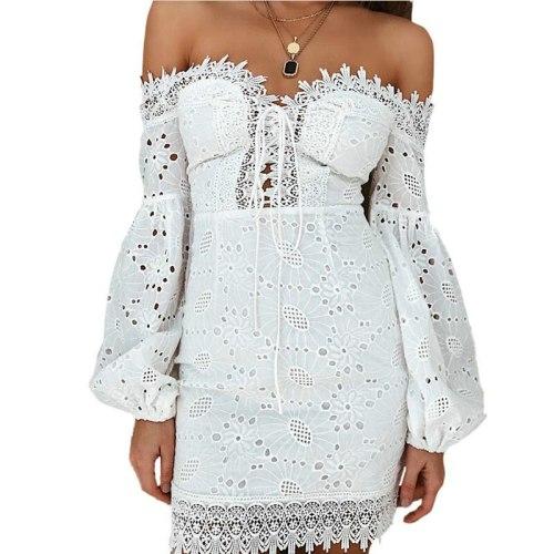 Fashion Beach Sundress Sexy Off Shoulder Women White Embroidery Elegant Dresses Spring Summer Bandage Bodycon Long Sleeve