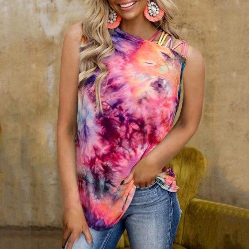 Summer Tie-dye Printing Sleeveless Vest New Sexy Strapless Vest Fashion Plus Size Casual Ladies Vest
