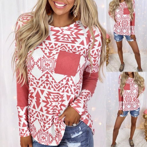 Fashion Women's T-shirt Summer  Casual Round Neck Pullover Stitching Printed Pocket Loose Long-sleeved T-shirt