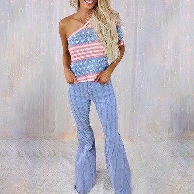 Summer New Women's Fashion Stripe Star Print Slant Shoulder Short Sleeve Casual Loose Vest Sexy Lady T-shirt Top