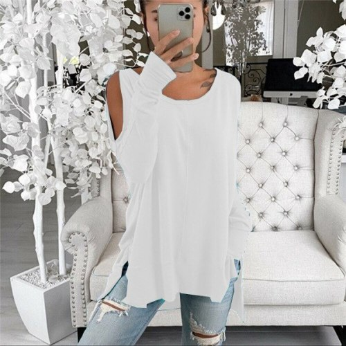 women spring hollow out shoulder Pullover loose long sleeve blouse tops solid black color plus sizes
