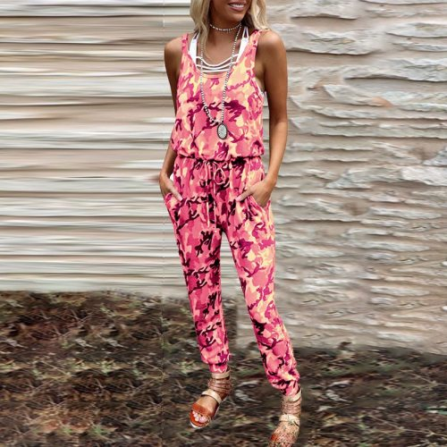 2021 Fashion Summer Straps Casual Jumpsuit Vintage Printed Sleeveless Rompers Playsuits Elegant Sexy O Neck Ladies Overalls XXL