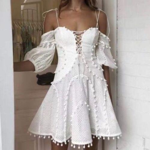 Spaghetti Strap Dress Women Hollow Out Ruffles Summer Mini Dress Plus Size Cold Shoulder Slim Party Dress Runway Vintage B009
