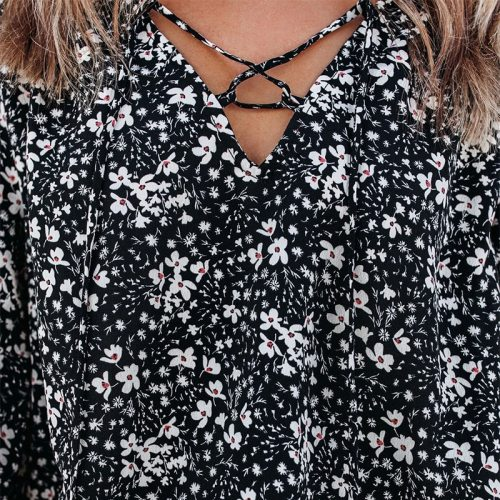 Summer Women's Blouse Fashion Loose V-neck Floral Long Sleeve Shirts 2021 New Arrival Casual Elegant Women Streetwear Tops