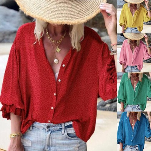 Women Polka Dot Shirt Blouse Casual Single-breasted Loose Tops Summer Beach H9