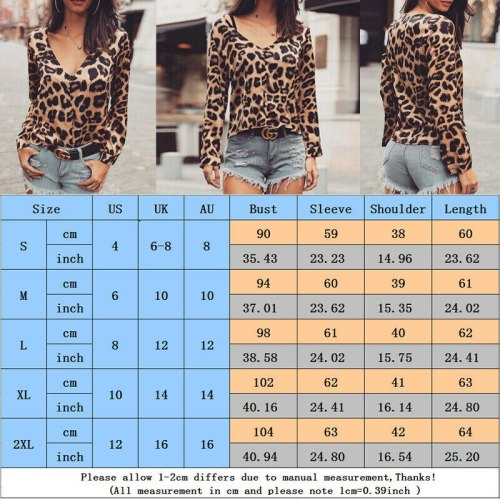Womens V Neck Leopard Print Sexy Long Sleeve Loose Tops Casual Tee Shirt T Shirts Plus Size S-XXL