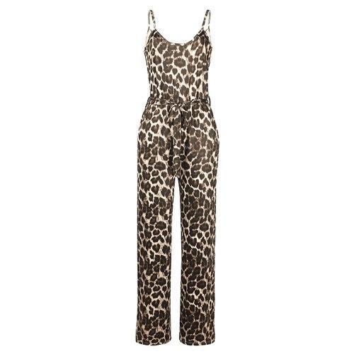 Jumpsuit Sexy Fashion Wide Leg Leopard Print Sleeveless Pocket Sleeveless V-neck Pocket Printing Suspender Fashion And Elegance