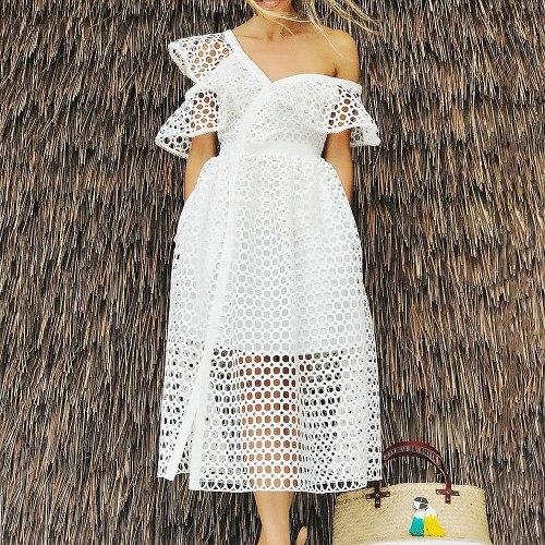 3XL 4XL African Dress Women's V-Neck Oblique Shoulder Sexy Hollow High-Quality African Dress Ruffled Lace Dress Long Skirt 2021