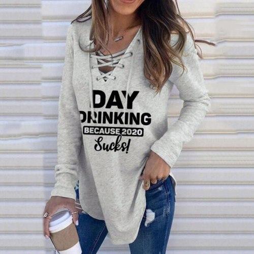 Autumn Winter Woman Sweatshirt Hooded Long Sleeve Female Hoodies Day Drinking Printing Woman Hoody