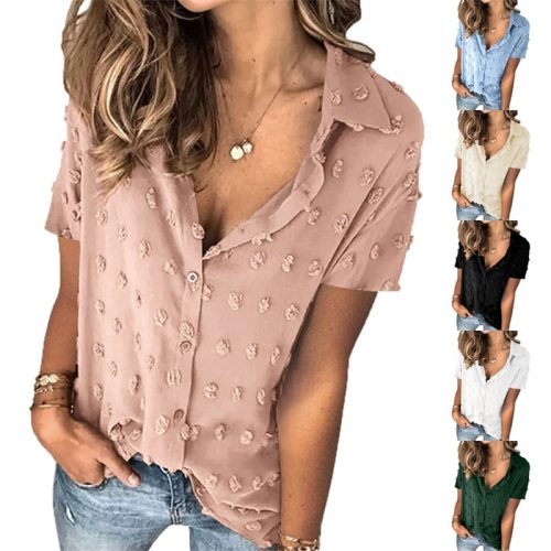 2021 New Summer Office Women Elegant Leisure Casual Top Plus Size Fashion Ladies Patchwork Dot Shirt Blouse Sexy Female Clothes