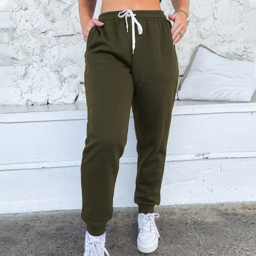 Women Sport Sweatpants Spring Sports Pants Fashion Solid Female Drawstring Joggers Pants High Waist Running Gym Pants