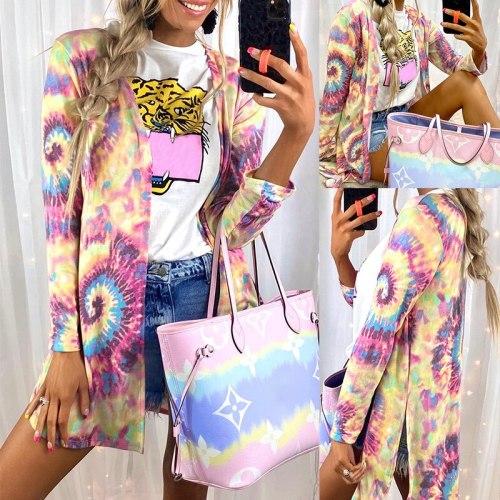 Tie Dye Women Cardigans Spring Autumn Gradient Floral Printed Long Sleeve Loose Long Jacket Coats WDC7530