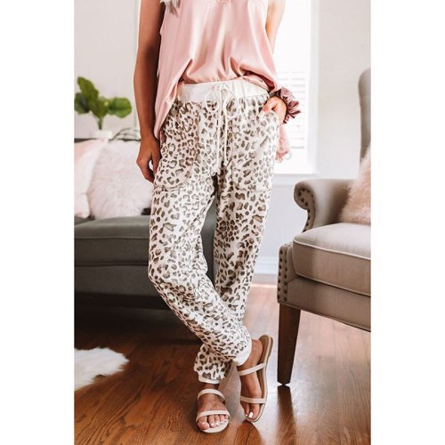 Women Leopord Print Pattern Casual Pants Female Autumn New Style With Drawstring Waistband Loose Beam Foot Capri Woman Pants