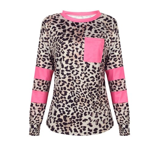 Women's Tops New Leopard Print Long-Sleeved Stitching Pocket Casual Round Neck Work T-Shirt All-Match  Vestidos Ge Muje