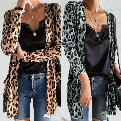 New Popular Leopard Cardigan Mid Long Coat Autumn Winter Yellow Gray Open Stitch Long Coat