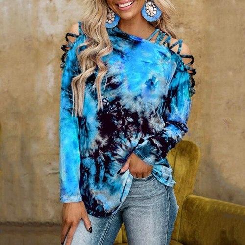 Women Long Sleeve Tie Dye Shirt Spring Fashion Print Shirt Off Shoulder Long Sleeve Loose  Pullover Top Women T-Shirts 2XL