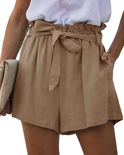 High Waist Shorts Women Elastic Tie Fold Paper Bag Belt Wide-Leg Shorts Summer Casual Pockets Loose Solid Color Slim Short 2021