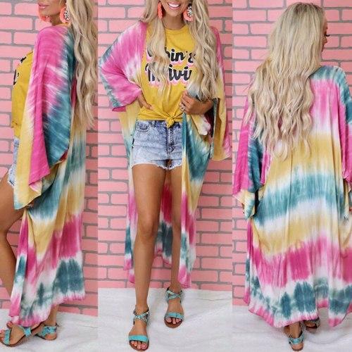 Tie Dye Kimono Cardigan Women Beach Holiday Vintage Striped Chiffon Shirts Loose Plus Size Shawl Long Sunscreen Jacket Blouse