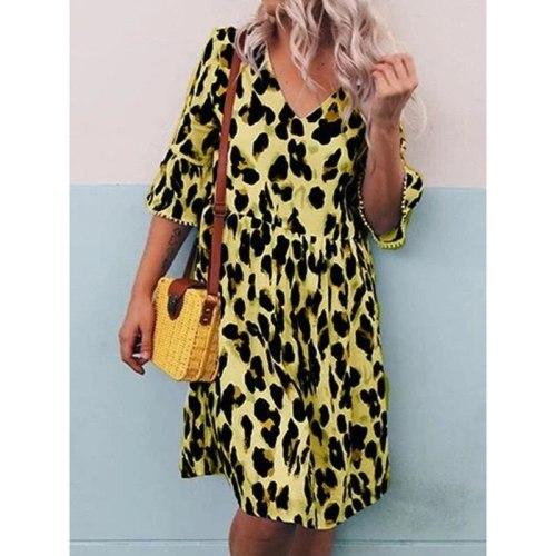 Fashion Half Sleeve Print Loose Women Dress Summer V-Neck Casual A-Line Midi Dresses Female Streetwear 2021 Sundress Vestidos