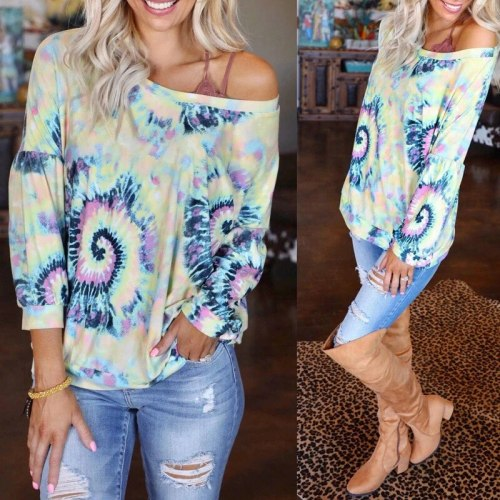 NewSpot 2021 Autumn Popular European And American Women's Printed Long Sleeve Round Neck Loose Casual Top Om9472