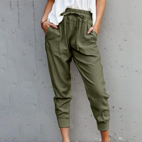 Shiying Casual Pants Women's Autumn and Winter New European and American Solid Color Loose Lace High Waist Ankle Length Jogger P