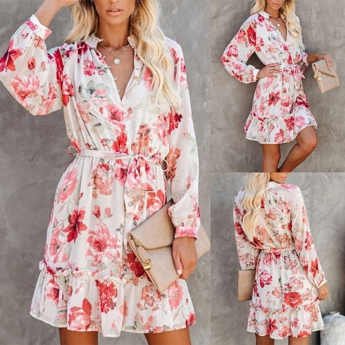 OL Elegant Ruffle Floral Dress Long Sleeve Mini High Waisted A Line Women's Dresses with Belt Summer Bodycon Casual Clothing