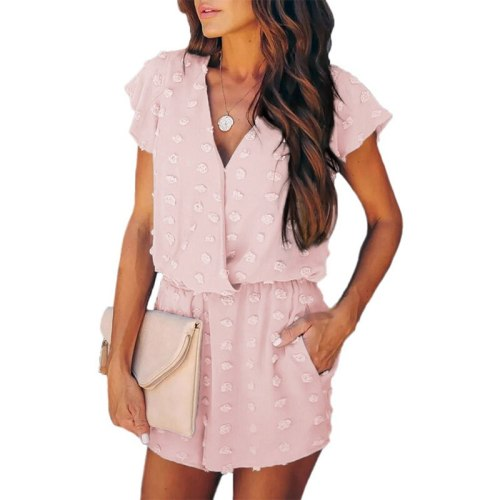 2021 Summer New Fashion V-Neck Playsuits Jumpsuit for Women Casual Short Sleeve Loose Solid Embroidery Thin Female Jumpsuits