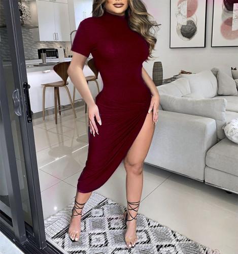 2021 Summer Sexy Black Side Split Bodycon Midi Dresses Short Sleeve for Women Solid O Neck Night Party Wear Skinny Dress