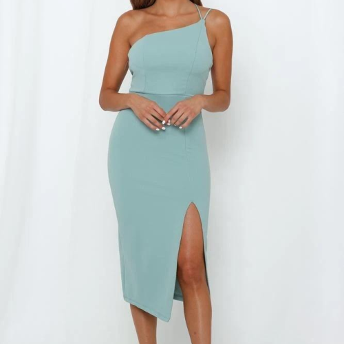 Sexy Women's Split Bodycon Dress One Shoulder Strap Backless High Waist Dresses Evening Party Club Pencil Dresses