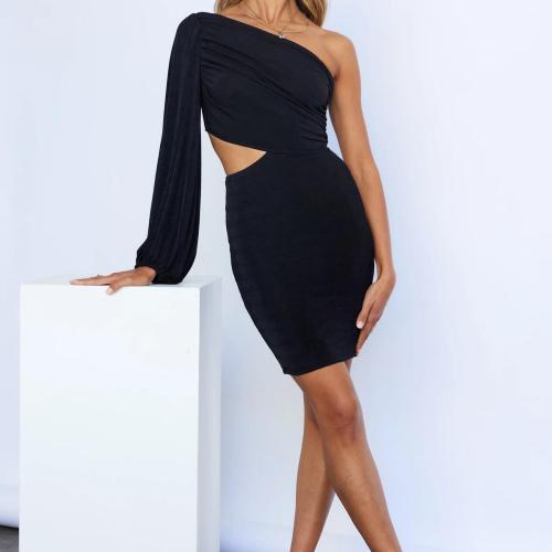 Sexy Cut Out Strapless Lantern Long Sleeve Bodycon Elastic Knit Mini Dress