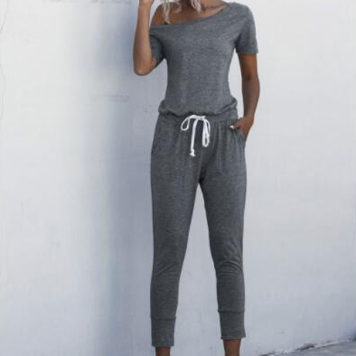 Women Sexy Jumpsuits Summer Solid Off Shoulder Short Sleeve Romper Fashion Casual Drawstring High Waist Female Overalls Playsuit