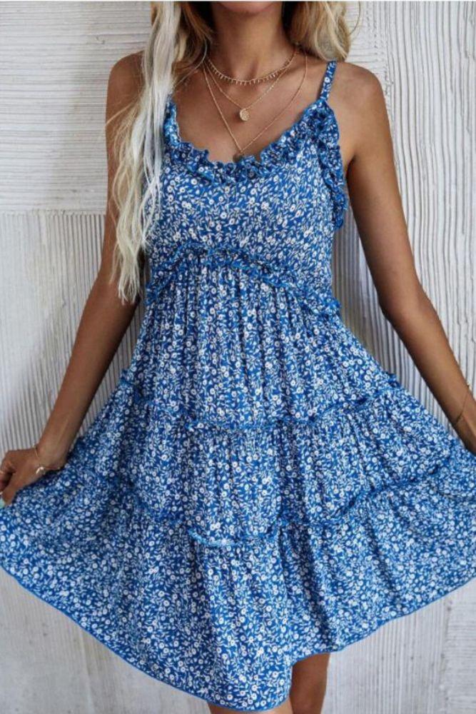 Sexy Women Summer Flower Print A-Line Dress Patchwork Design Ruffles Decor V-Neck Sling Sleeveless Backless Slim Mini Dress