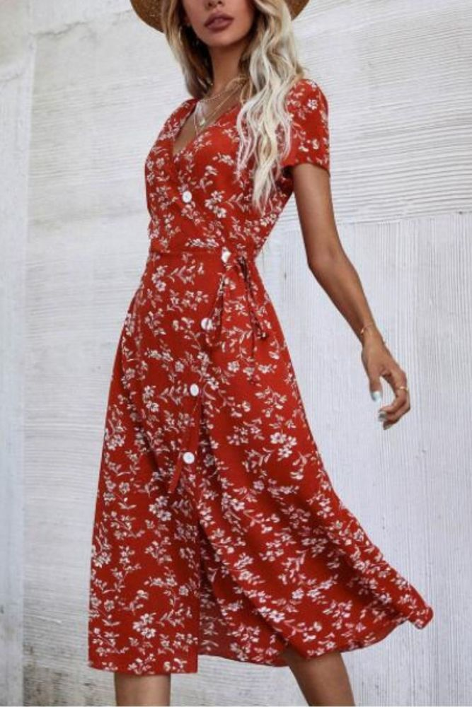Women's Retro Style Floral Sexy V-neck Dress Buttons Bandage Split Printed Chiffon Temperament Long Dress With Short Sleeves