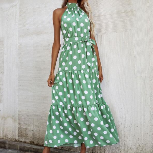 Summer Women's Dress 2021 Polka Dot Printing Sleeveless Long Dresses For Women Casual High Neck Waist Slim Fit Female Vestidos