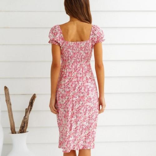 Women's Summer Dresses Sexy Deep V Neck Fashion Print Button Casual Loose Elastic Short Sleeve Irregular Slit Hem Dress 2021