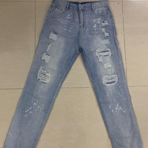2021 New Women Fashion Mid Waist Boyfriend Big Ripped Hole Jeans Casual High Street Denim Pants Sexy Vintage Pencil Calca Jeans