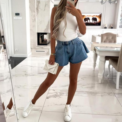 Summer Fashion Ruffles Hem Denim Shorts 2021 New Blue Washed Pockets Zippers Shorts Female Jeans Shorts High Waist Bottoms