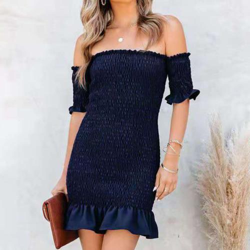 Simplee Off Shoulder Print Bodycon Dress Women Casual Ruffle Beach Summer Dress Streetwear Robe Femme Mini Dress Vestidos