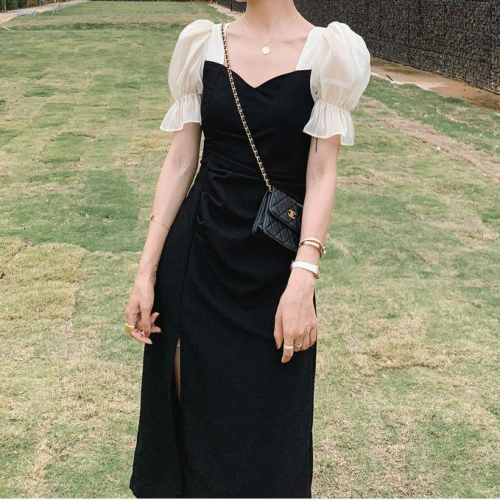 Black Dress for Women Summer 2021 Office Lady Puff Sleeve V-Neck A-LINE Vintage Dresses for Woman