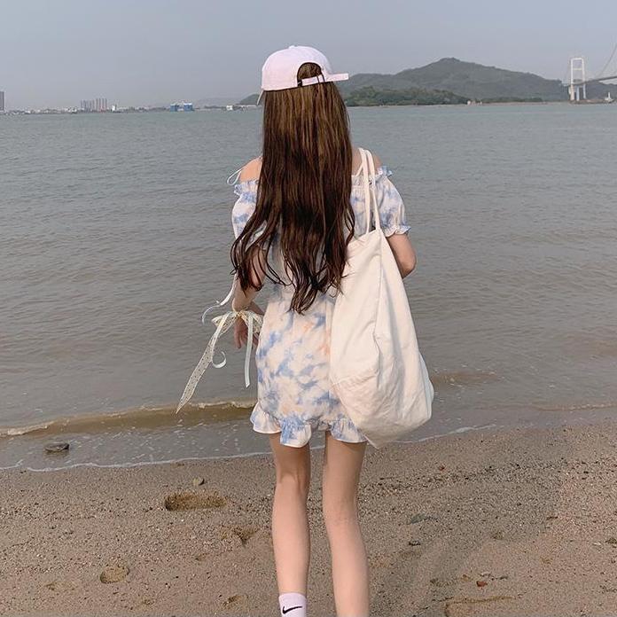 Elegant Kawaii Dress Women Puff Sleeve Floral Casual Starp Dress Beach Party One Piece Dress Korean Office Lady 2021 Summer Chic