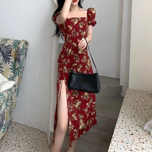 Elegant Floral Dress Women Short Sleeve Midi Vintage Dress Square Collar French Retro Sexy Party Dress 2021 Summer Korean Style