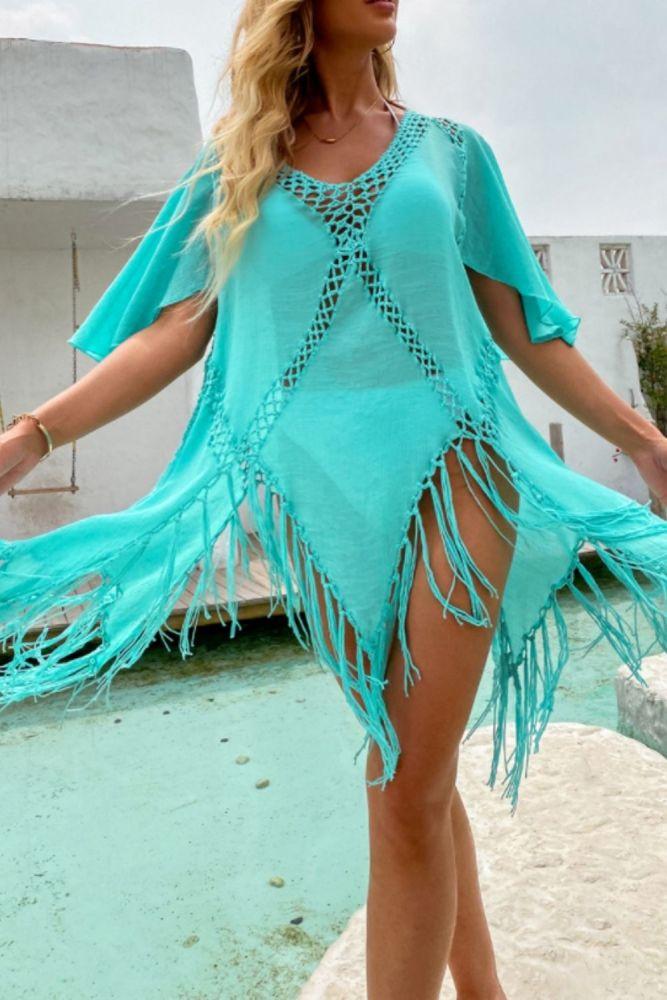 Women Beach Dress Tunic Crochet Pareo Cover Up Summer Tassel Beachwear Swimsuit Sexy Bikini Cover Up Outing Sundress