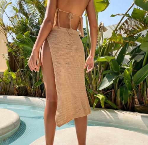 2021 New Crochet Knitted Solid Split Skirts Pareo Beach Cover Up Cover-ups Beach Dress Beach Wear Beachwear Female Women