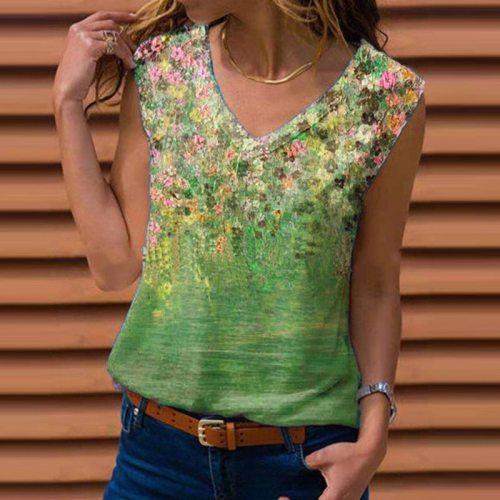 Fashion Flower Print Shirt Casual Spring Summer Sleeveless Pullover Tops Elegant Women V-Neck Blouse Streetwear Plus Size