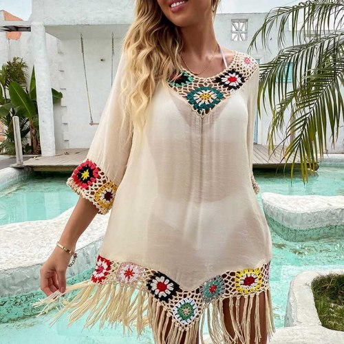 Women Dress For Summer The Beach Cover Up 2021 Bathroom Outlet Ins Web Languid Lazy Flower Smock Print Polyester Swimsuit Tunics